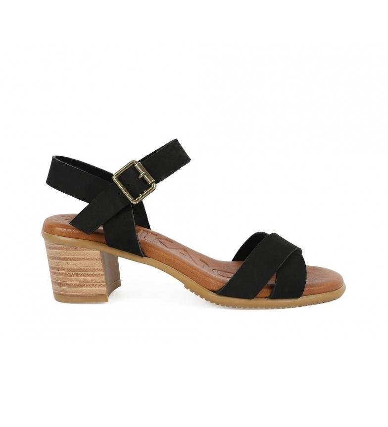Comprar Chika10 Leather sandals Tivoli 12 black -heel height: 6cm