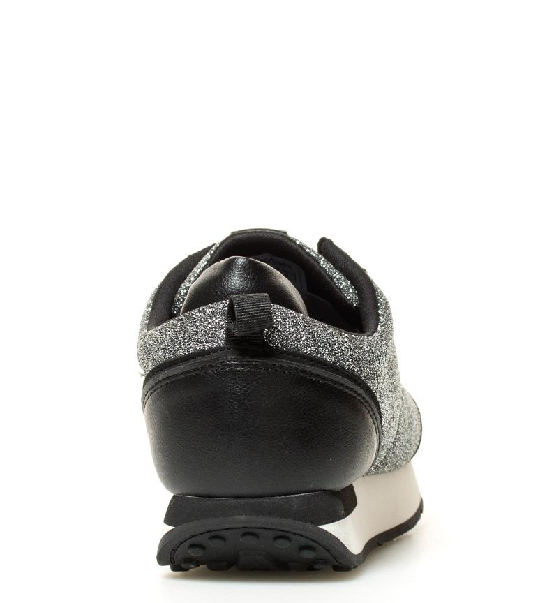 03 Zapatillas negro Agnes plata Chika10 UE4fqq