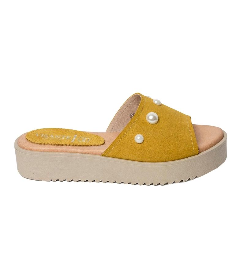 Comprar VISANZE Sandalo Alicia in pelle gialla - Altezza plateau: 3.5cm-