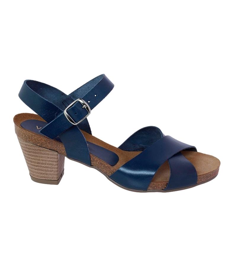 Comprar VISANZE Sandalia de piel Carmen marino -Altura tacón: 6cm-