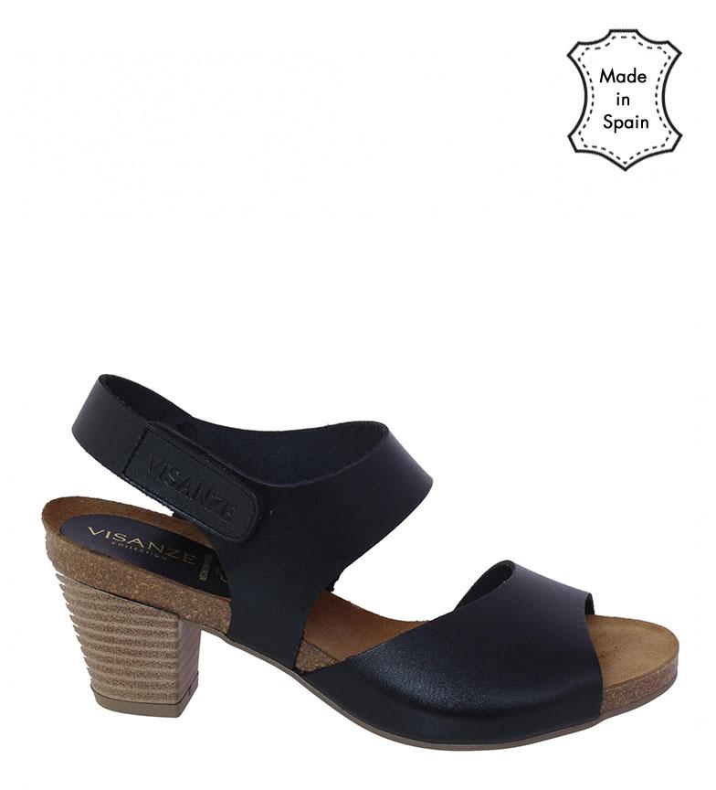 Comprar VISANZE Sandalia de piel Pilar negro -Altura tacón: 6cm-
