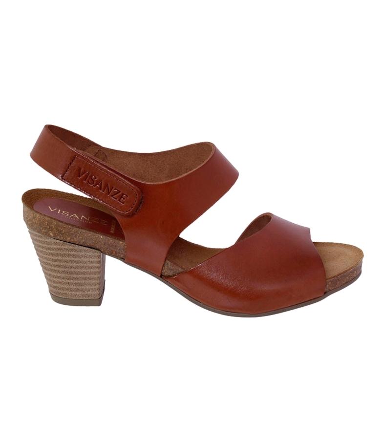 Comprar VISANZE Sandalia de piel Pilar marrón -Altura tacón: 6cm-