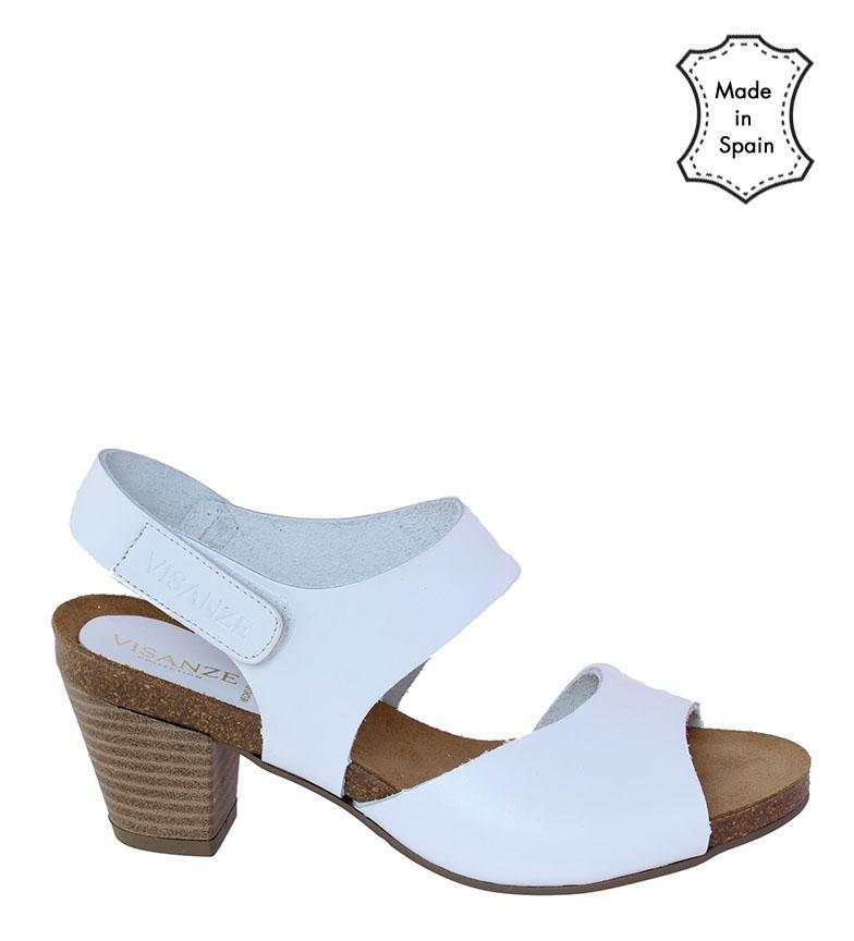 Comprar VISANZE Sandália de couro Pilar branca - Salto alto: 6cm