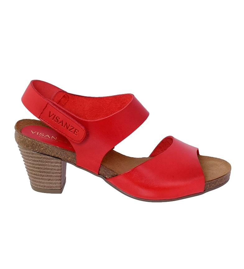 Comprar VISANZE Sandalia de piel Pilar rojo -Altura tacón: 6cm-