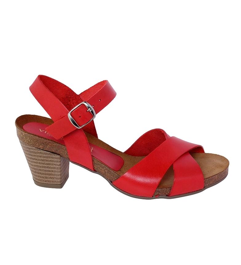 Comprar VISANZE Sandalia de piel Carmen rojo -Altura tacón: 6cm-