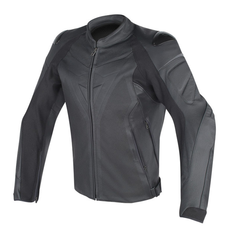 Comprar Dainese Black perforated Fighter leather jacket