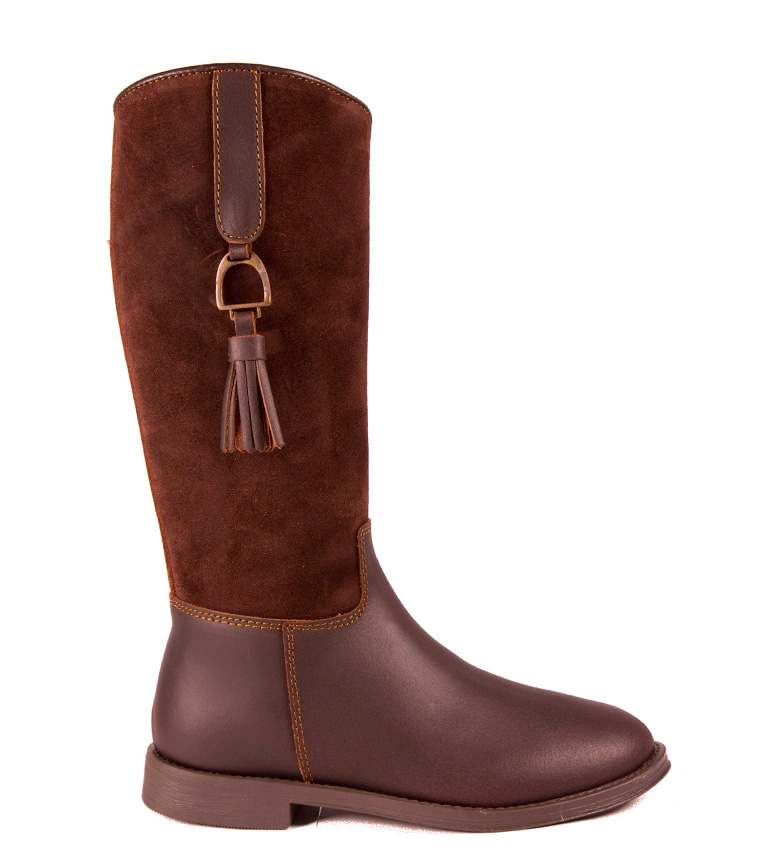 Comprar DAKOTA BOOTS Leather boot in chestnut color combined