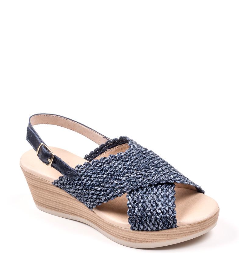 Comprar D´Chicas Sandales en cuir bleu Garda - Hauteur de la cale. 6cm-