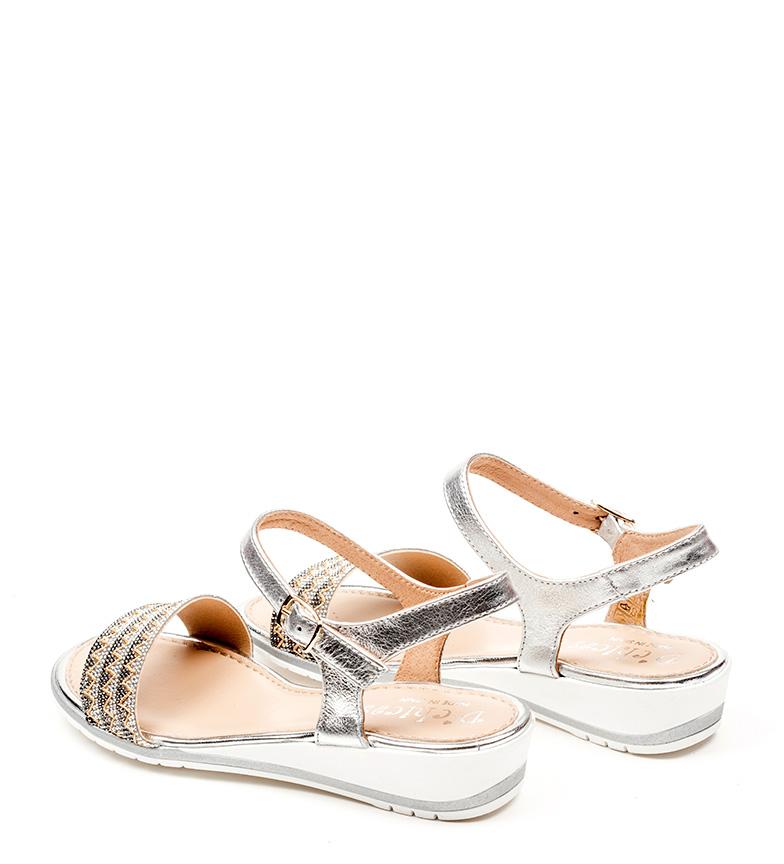 D´Chicas Sandalias de piel Crisa plata