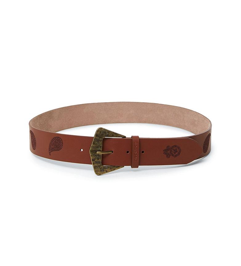 Comprar Desigual Cinturón de piel Paisley marrón