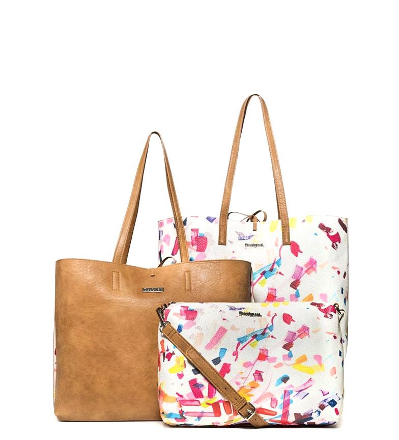 Comprar Desigual Borsa Reverse Bag Confetti Seattle bianco cammello -36X13X13X29,50cm / 21x10x34cm-