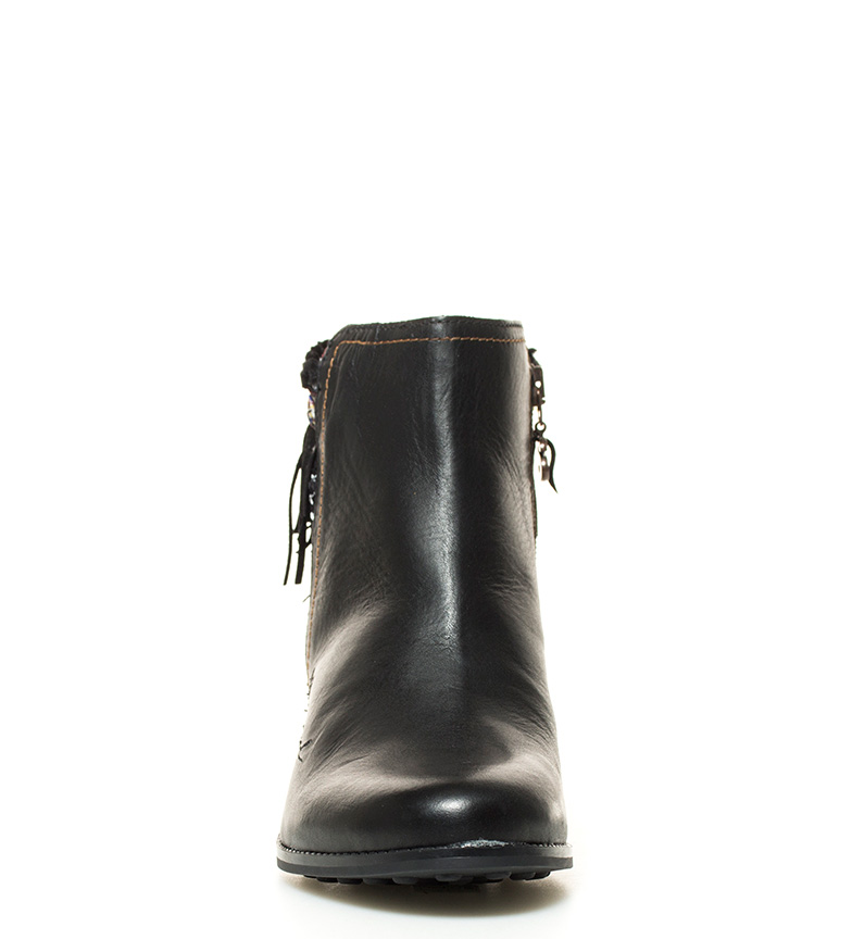 Desigual Botines de piel Country Exotic negro Altura tacón: 6,5cm