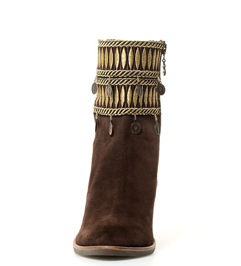 tacón Botas Altura marrón Desigual de cm 9 Exotic Folk piel Fqwn6v0a
