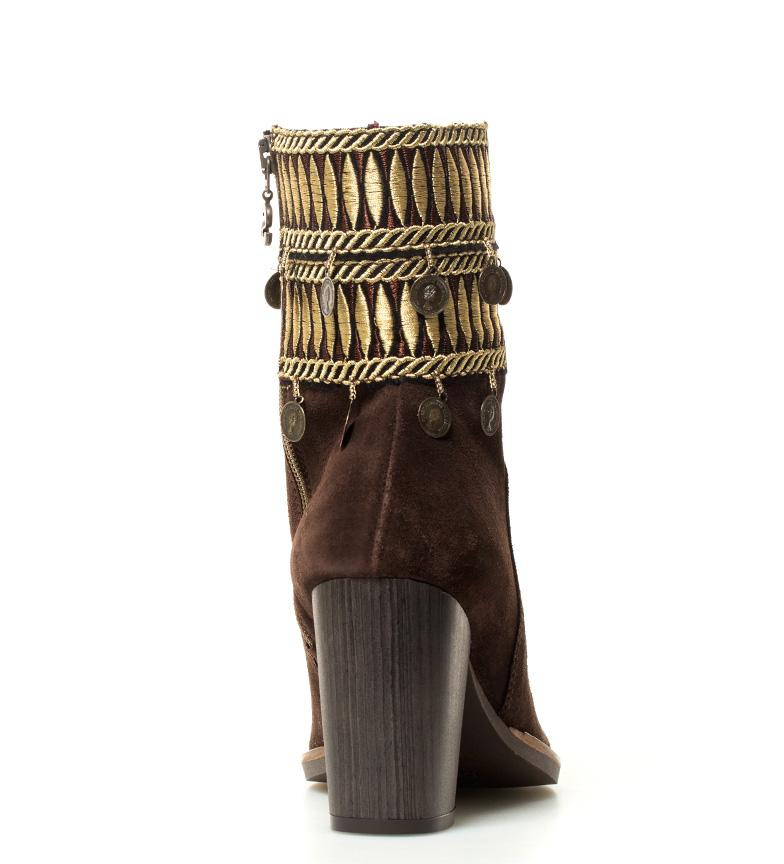 Desigual Botas de piel Folk Exotic marrón Altura tacón: 9 cm