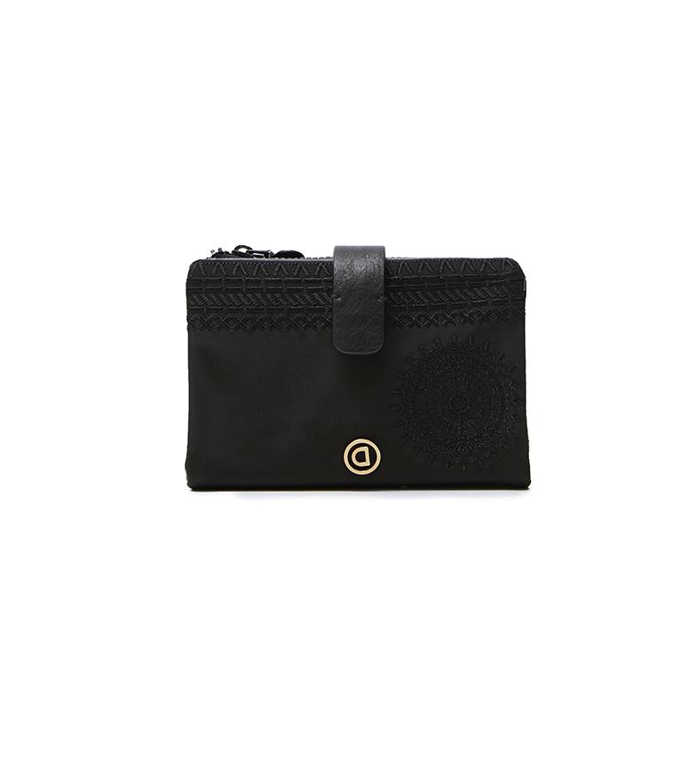 Desigual Pia Mini carteira alcalina preta -14,3x2x9,5cm
