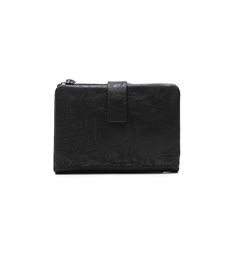 Comprar Desigual  Monedero Pequeño Flores negro -14.2x2x9.5cm-
