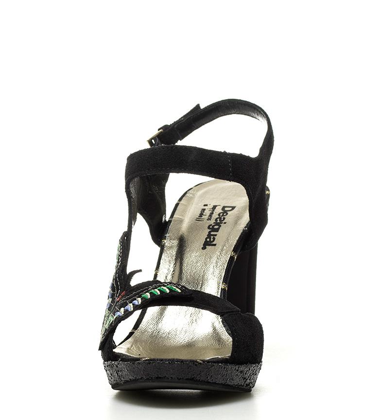 Desigual Sandalias de piel Marilyn Butterfly negro Altura tacón: 10,5cm