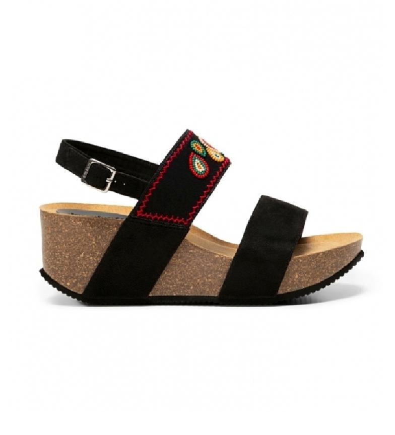 Comprar Desigual Sandálias de Contas Leo preto -Cunha de altura: 6,5 cm