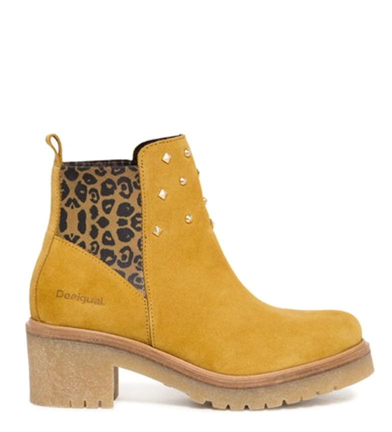 Comprar Desigual Stivali in pelle da motociclista Senape animale - tacco: 5cm-