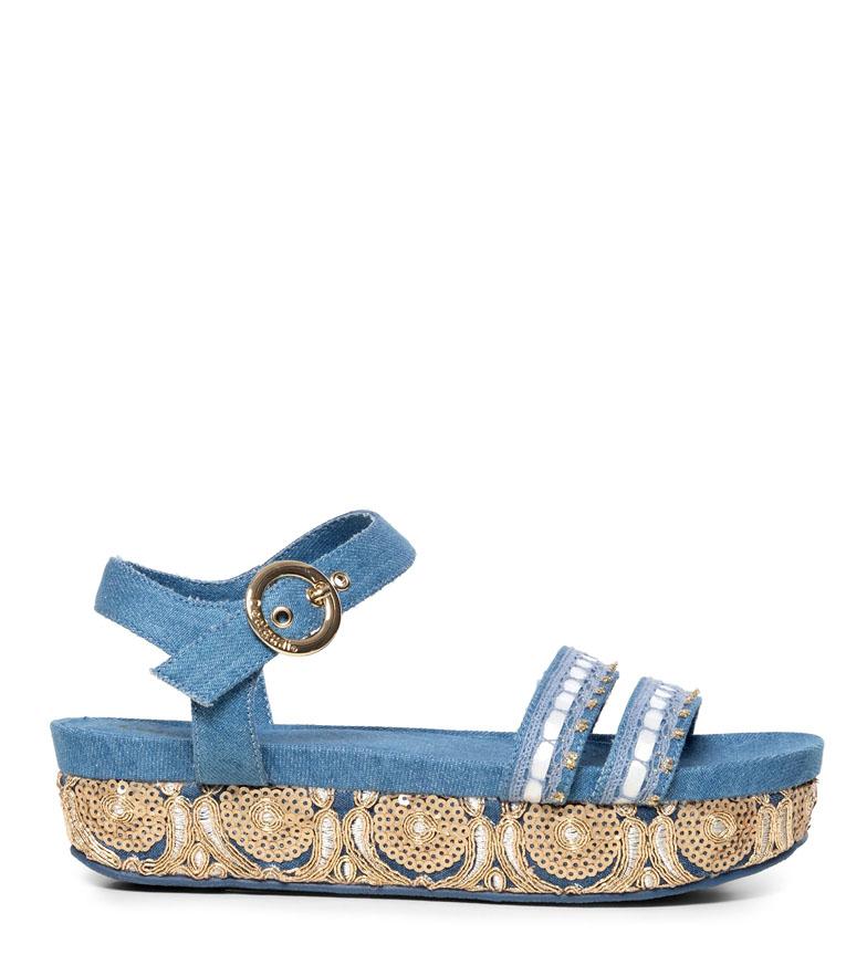 Comprar Desigual Sandales exotiques Trimuph bleu - Hauteur de plate-forme : 4cm