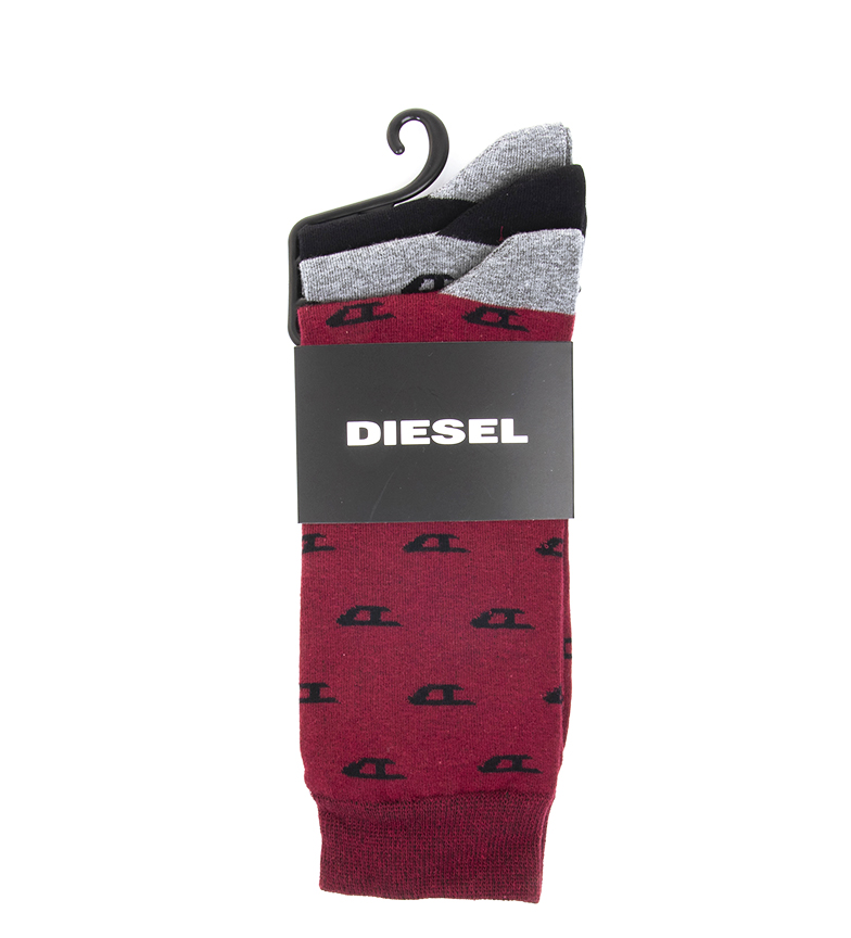 Comprar Diesel Pack 3 Ray socks black, garnet, grey