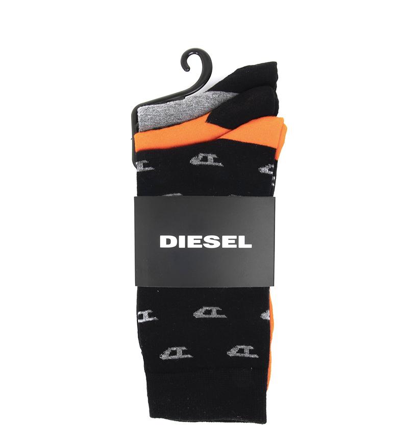 Comprar Diesel Pack 3 chaussettes Ray noires, orange, grises et noires