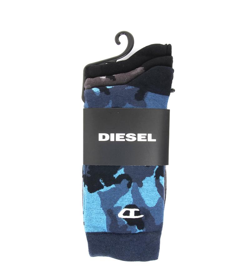 Comprar Diesel Pack 3 Skm Ray socks black, grey, blue camouflage