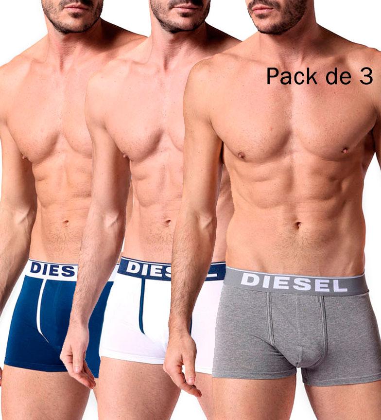 Comprar Diesel Pack 3 Damien boxers white, grey, blue