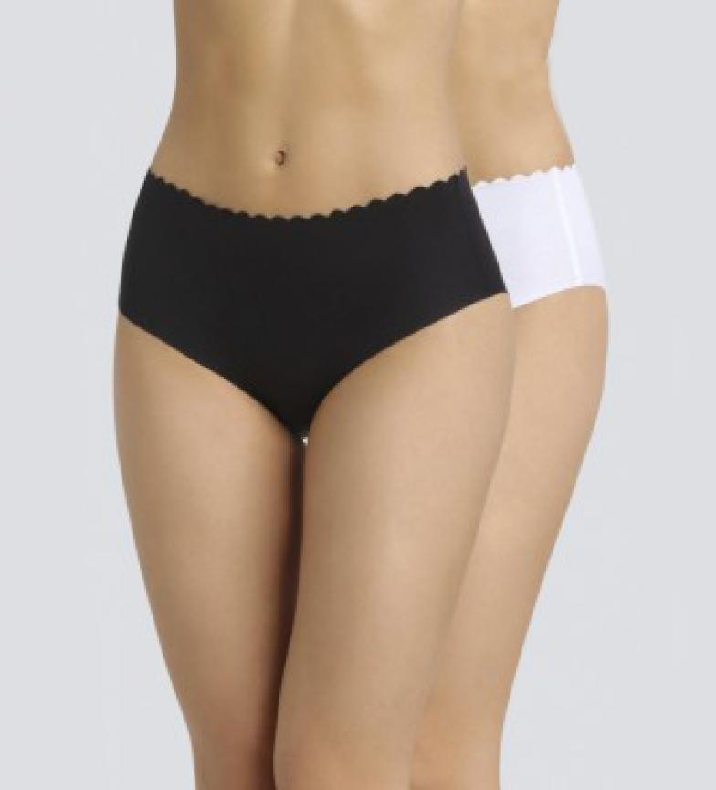 Comprar DIM Confezione da 2 mutandine alte in cotone taglio laser e invisibile nero, bianco