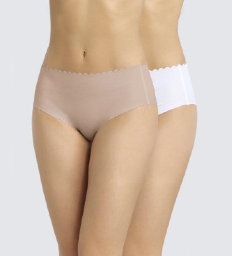 DIM Confezione da 2 mutandine da donna nude in cotone, bianche, tagliate al laser, invisibili