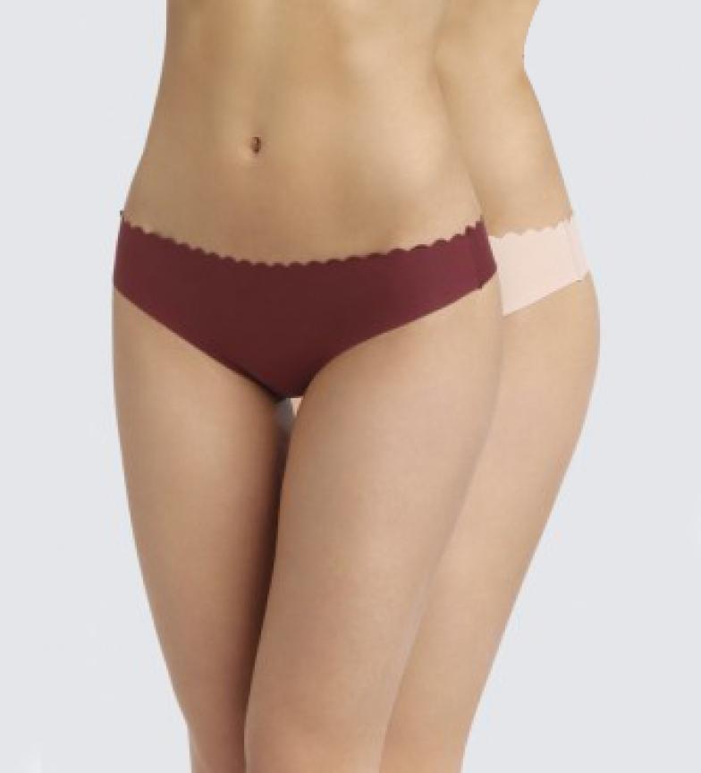 Comprar DIM Pacote de 2 tangas de algodão borgonha invisíveis e cortadas a laser para mulheres, cor-de-rosa