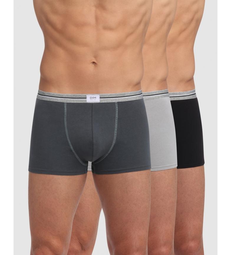 Comprar DIM Embalagem de 3 boxers em cinzento claro, cinzento escuro, algodão preto