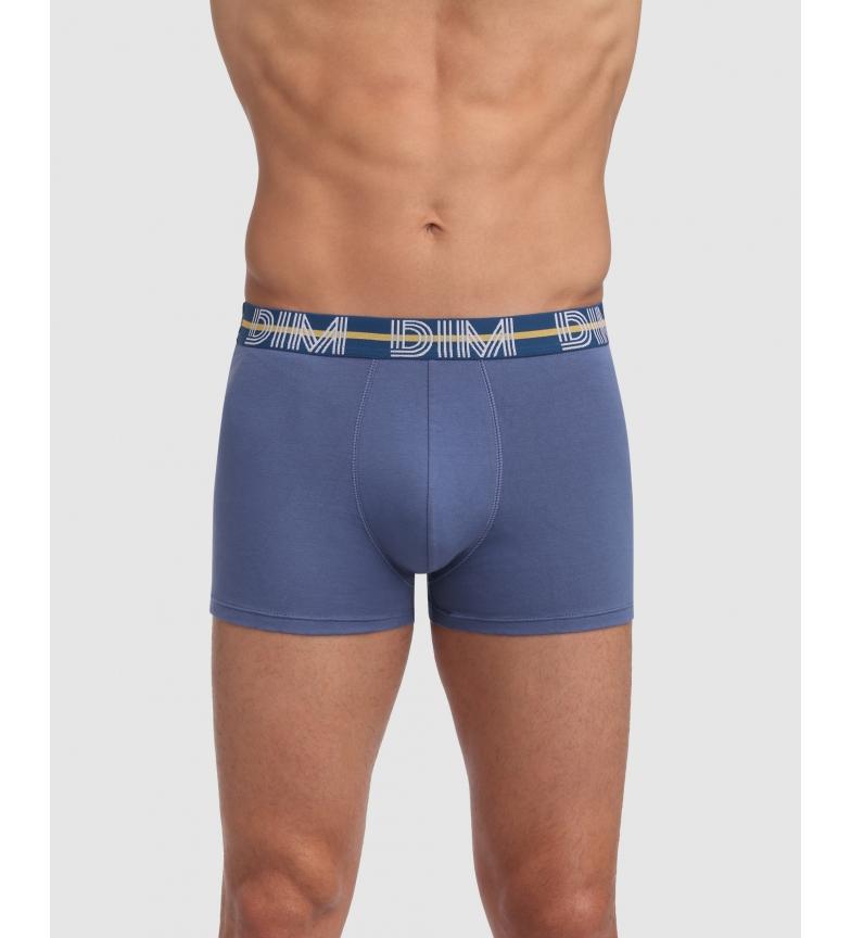 DIM Pack of 3 blue, light blue, black elastic cotton boxers