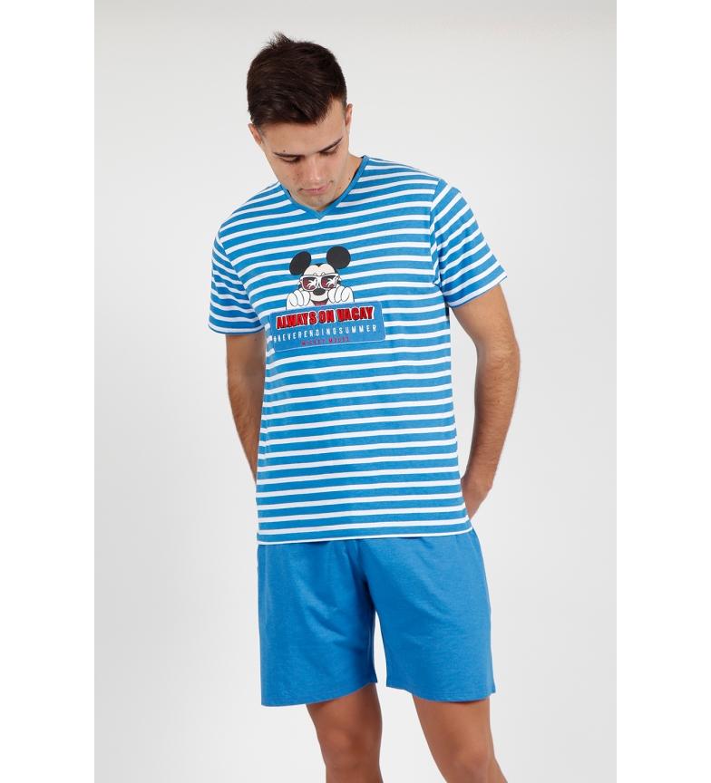 Disney Pijamas Mickey Pocket Short Sleeve azul