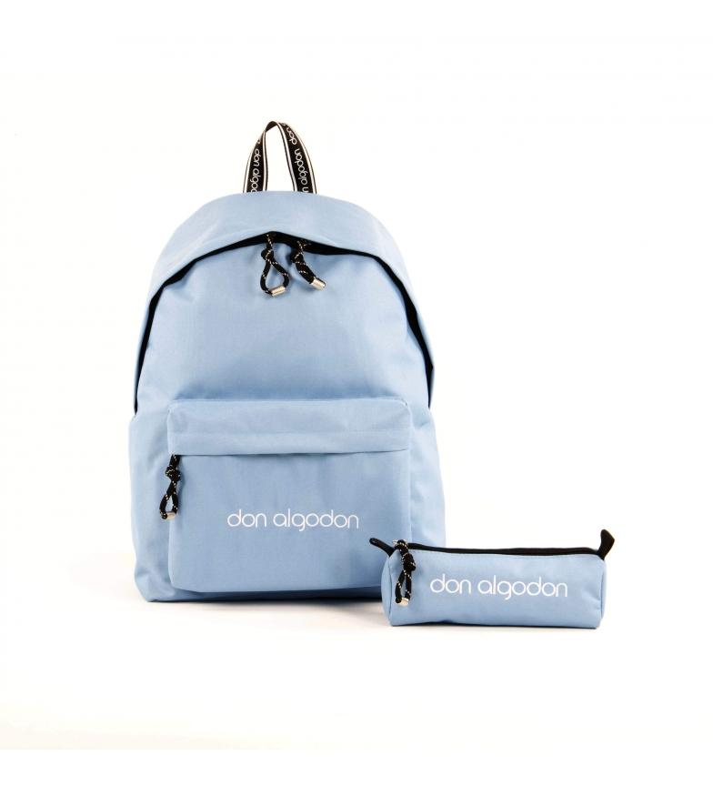 Comprar don algodon Sac d'école avec étui Couleurs bleu -29x40,5x16,5cm