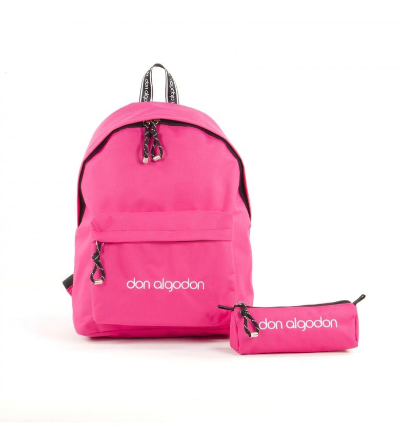 Comprar don algodon Sac d'école avec étui Couleurs rose -29x40,5x16,5cm