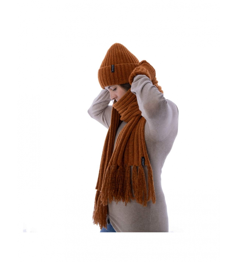 Comprar don algodon Pack scarf, hat and gloves Leisi camel