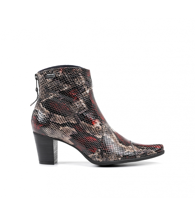 Comprar Dorking Leather ankle boots D6034 animal print red -Heel height: 6 cm