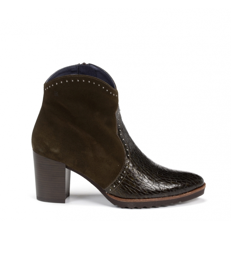 Comprar Dorking Thais leather ankle boots D7895 Green -Heel height: 7 cm