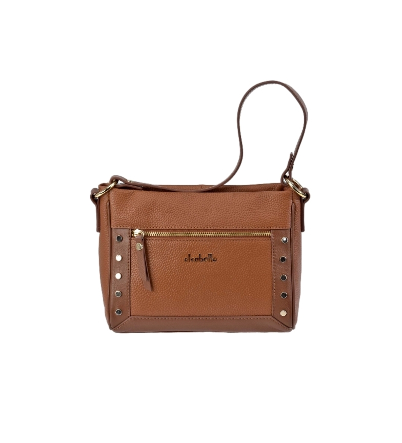 Comprar El Caballo Floather cognac leather shoulder bag -18x24x10cm