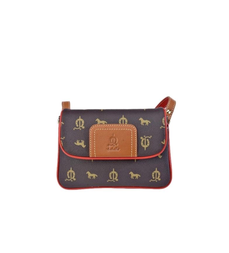 Comprar El Caballo Brown canvas leather shoulder bag -21x15x6cm