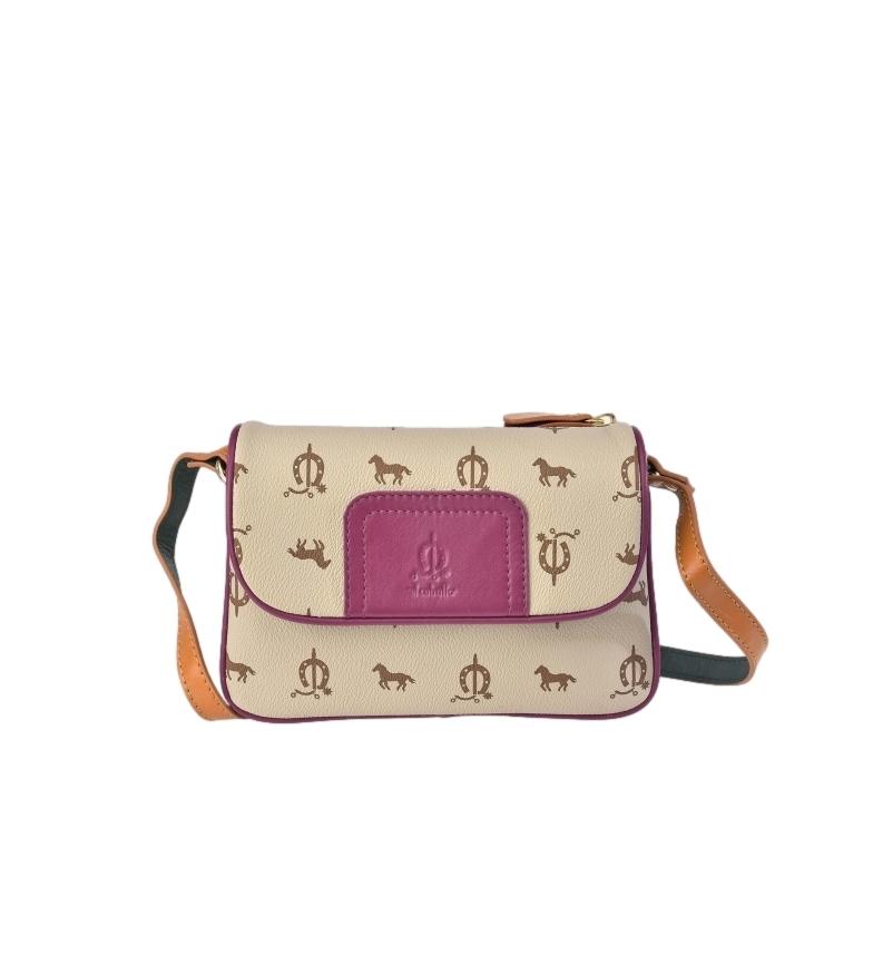 Comprar El Caballo Beige canvas leather shoulder bag -21x15x6cm