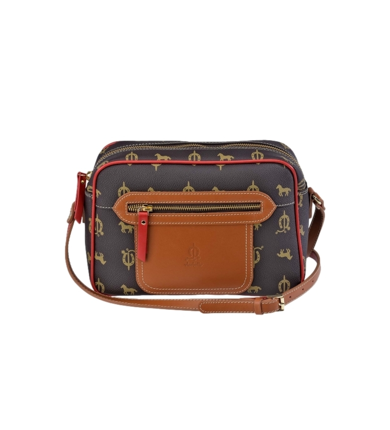 Comprar El Caballo Brown canvas leather shoulder bag -27x18x8cm