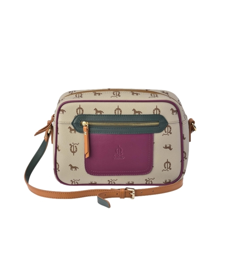 Comprar El Caballo Beige canvas leather shoulder bag -27x18x8cm