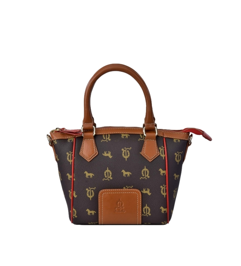 Comprar El Caballo Small brown canvas leather bowling bag -21x29x10cm