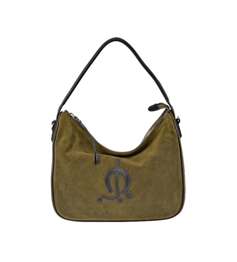 El Caballo Green suede leather shoulder bag -31x24x10cm