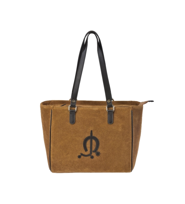 Comprar El Caballo Brown suede leather shopping bag -36x25x12cm