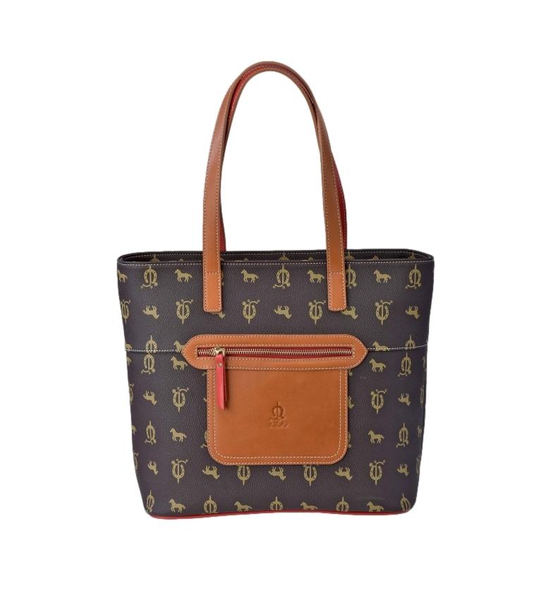 Comprar El Caballo Brown canvas leather shopping bag -30x30x14cm