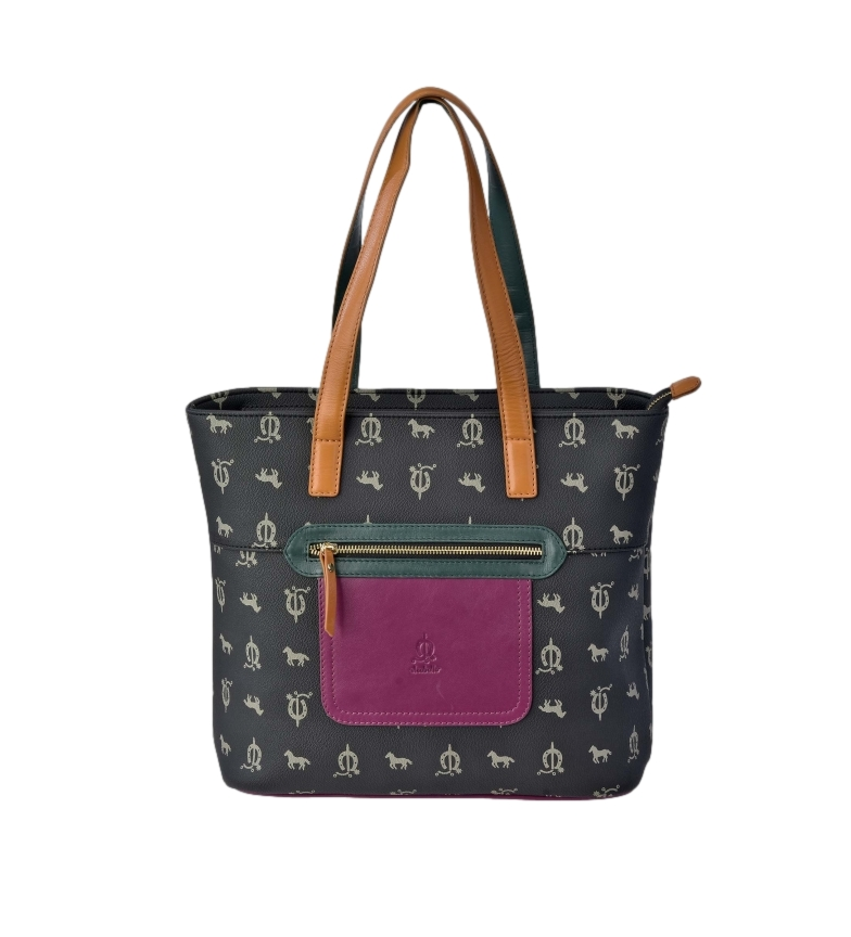 Comprar El Caballo Black canvas leather shopping bag -30x30x14cm
