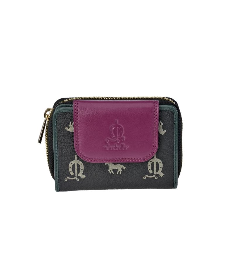 El Caballo Small black canvas leather coin purse -12x9x3cm